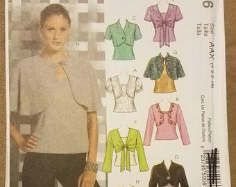 McCall's 5006 - Misses Shrug, Capelet, and Tops Pattern - Ladies Shirts - Sizes 4, 6, 8, 10