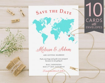 World Map Save the Date, Destination Wedding Save the Date, Long Distance Save the Date (10 Cards & Envelopes)