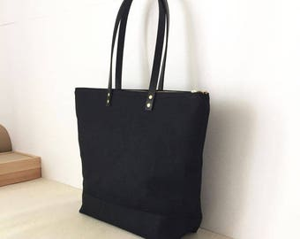 "Medium Zipper Tote | Waxed Canvas and Leather | Diaper Bag | 13"" MacBook Air Laptop Bag 