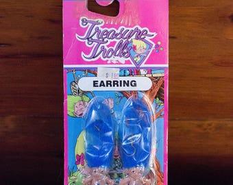 Vintage 1991 New in Package Blue Haired Treasure Trolls Dangle Earrings-Pierced Ears