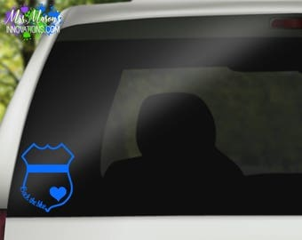 Back The Blue Decal - Thin Blue Line Decal - Police Decal - Blue Line Decal - Blue Stripe Decal - Car Decal - Laptop Decal -  Window Decal