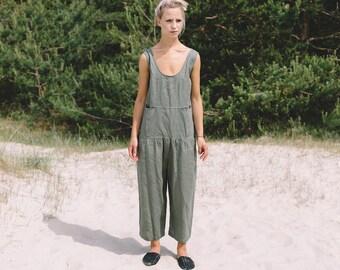 Linen jumpsuit / Loose linen Jumpsuit / Linen overall / Linen women romper / Linen clothes / Pine green jumpsuit / #34