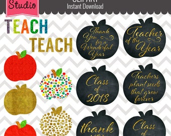 Glitter Apples, Gold Apples, Education Clipart, Teacher Clipart, Graduation Clipart  - Objects 109