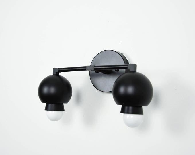 All Matte Black 2 Light Wall Bathroom Sconce Cone Sphere Metal Covers Vanity 2 Bulb Modern Mid Century Industrial