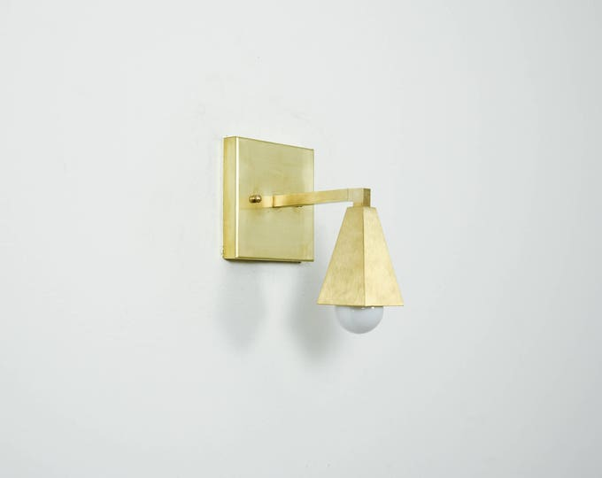 Wall Sconce Vanity Raw Brass Gold Modern Square Craftsman Abstract Mid Century Industrial Art Light Bathroom UL Listed