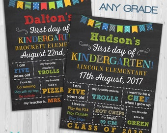 First day of Kindergarten sign BOYS, First day of school sign, kindergarden poster Chalkboard poster, 1st day Back to School Sign Printable