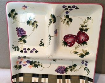 Oneida STRAWBERRY PLAID 3 Section Serving Tray RARE