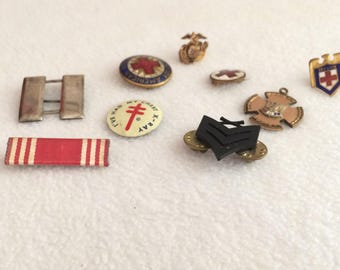 Vintage Red Cross & Misc Military Pins x 9