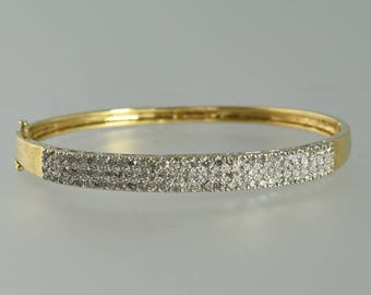 Estate 14K Yellow and White Gold DIAMOND Pave Bangle Bracelet 2.00 CTW Marked SB Designer