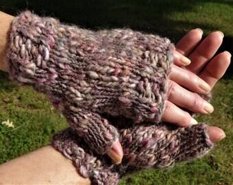 Fingerless Gloves Ladies' Bulky Hand Knit Gray Pink Violet Mohair, Wool, Acrylic Fingerless Gloves Hand Warmers Bulky Knit Fingerless Gloves