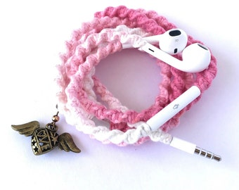 iPhone EarPods, Tangle Free Earbuds, Android Ear Buds Cables Summerfest Collection ZEN BUNNY Macrame Wrapped Earbuds Lightning Cable iPod