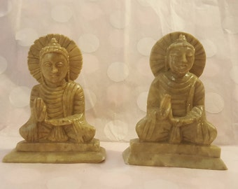 2 buddha's handmade from specksteen