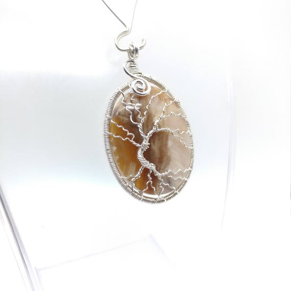 Tree-of-Life Pendant | Petrified Wood Pendant | Sterling Silver Tree-of-Life Wire Pendant | Tree of Life  | Family Tree Necklace
