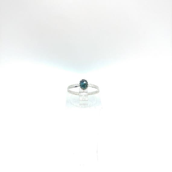 Rose Cut Blue Sapphire Ring | Sterling Silver Ring Sz 5.5 | Rose Cut Sapphire Ring | Simple Blue Ring | September Birthstone Ring