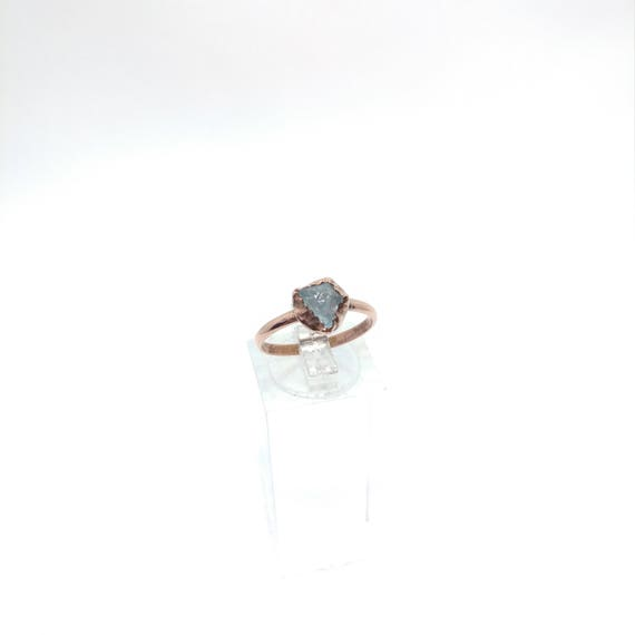 Raw Aquamarine Ring | Copper Ring Sz 7 | Raw Blue Aquamarine Ring | Raw Crystal | Raw Stone | Light Blue Crystal Jewelry