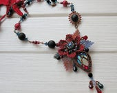 sparkle beaded Flower necklace, exclusive handmade jewelry, red blue black, OOAK beadwork statement pendant, gift for birthday, seed bead