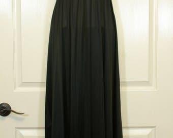 Vanity Fair Black Goddess Nightgown Blue Pillow Label Braided Empire Waist Cord Tie Graceful Maxi Length