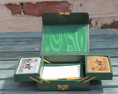Bridge Green Leather Set of Two Playing Cards with 4 scoring pads and pencils c.1930s