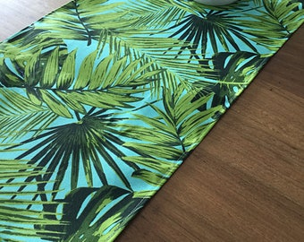 Palm Leaves Tropical Table Runner Coastal Classic. Vintage Hawaiian Style.  Botanicals Beach House Decor