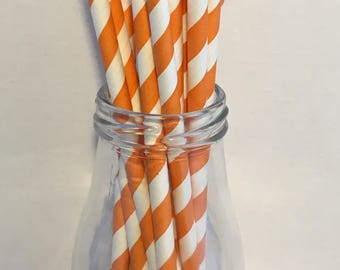 Orange Stripe Paper Straws, Mason Jar Straws, Party Decor, Straws