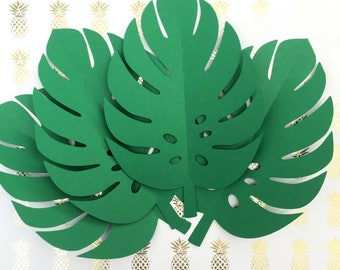 Tropical Leaf shapes. Green safari or jungle leaves, monstera leaf. Baby shower, first birthday party, photo prop, backdrop.