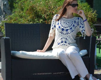 Beach crochet top PATTERN (sizes S-L), crochet TUTORIAL in English (every row), designer crochet top pattern, trendy crochet sweater pattern