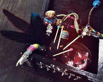 Voodoo Magic Altar Kit - Boho African Decor - Witchcraft Pagan Altar - New Orleans Art - Papa Legba Marie Laveau - Bohemian - Aromatherapy