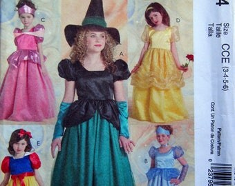 Children's And Girls' Princess And Witch Costumes Size 3, 4, 5, 6 McCall's Costumes M5494 Uncut Sewing Pattern 2007