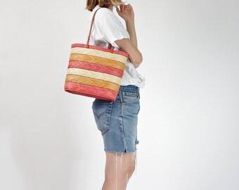 Vintage natural straw basket bag