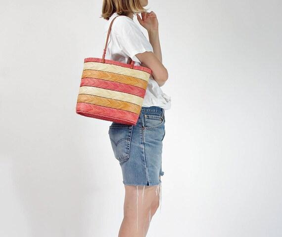 SALE - Vintage natural straw basket bag