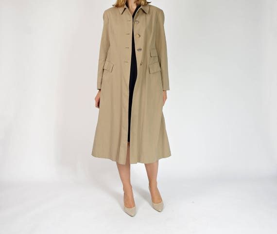 JIL SANDER beige minimalist cotton trench coat made in Italy / size 38-40