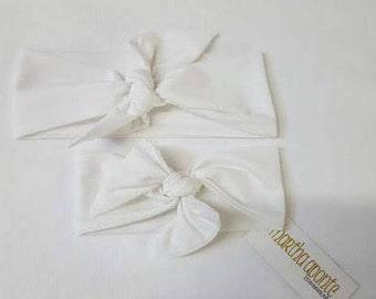 White-Adjustable Top Knot Headband