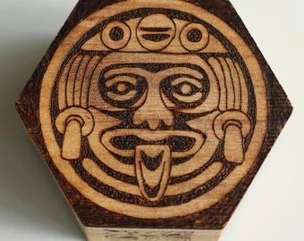 Wooden trinket box with Mayan Calendar design - birthday gift, friend gift, housewarming gift, personalised gift