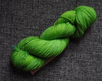 Sale: Grinch! High twist sock yarn merino nylon hand dyed skein