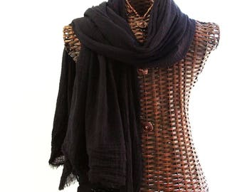 XL Nomad Scarf, Extra Large Scarf, Lightweight Shawl, Large Black Cotton Scarf Black Fall Winter Scarf, Mens Black Scarf for Men, Extra Long