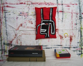Black devil art gift Basquiat creative spirit wall art sculpture gift graffiti style New York textile pillow birthday graduation unisex gift