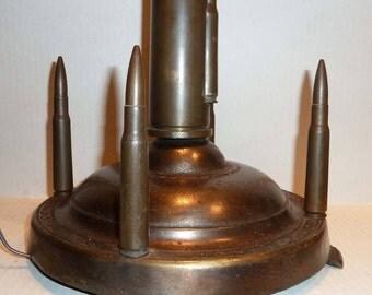 Trench Art Lamp Original Shells needs rewiring/old plug