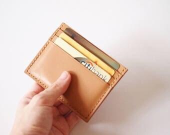 Men's Credit Card Wallet/ Card Organiser in Light Brown Leather - Wallet /Card Holder / Card Wallet / Card Case / Minimalist Wallet