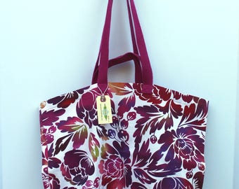 Canvas Bag: Raspberry flowers, washable