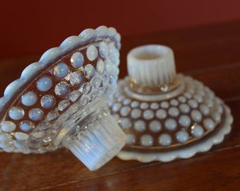 Anchor Hocking Opalescent Moonstone Hobnail Candlestick Holders