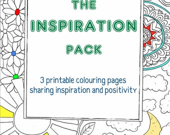 Inspiration Pack - 3 Digital Colouring Pages, Adult Coloring, Positive, Mindfulness, Wellness, Relaxation, Colouring Pack