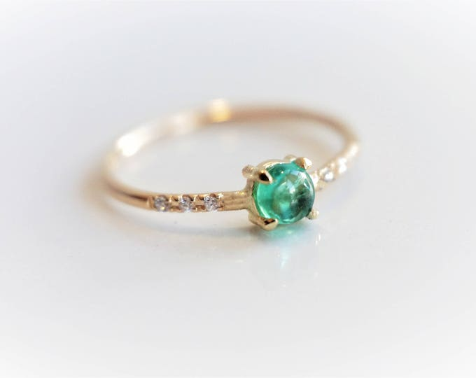 Naomi Emerald - Natural Green Emerald and Diamond Ring, 14k Gold Diamond Emerald Ring, Dainty Ring, May Birthstone Ring