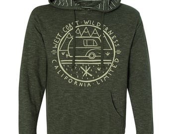 West Coast Wilderness California Outdoors RV Camping Forest Green Pullover Women's Hoodie Sweatshirt Cali Dreaming Made in California
