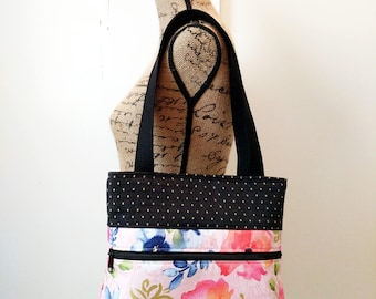 Watercolor Floral Pink Shoulder Bag / Cotton Purse / Magnetic Snap Closure