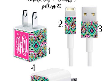 Iphone Charger Wrap, Monogram Iphone charger decal in Pattern 29