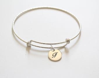 Sterling Silver Bracelet with Sterling Silver Cursive F Letter Charm, Bracelet with Silver Letter F Pendant, Initial F Charm Bracelet, F