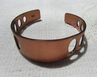 Vintage modernist cut out solid copper cuff  bracelet   boho retro mid century modern