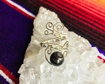 Black Banded Agate Adjustable Ring || Gunmetal Handmade Jewelry
