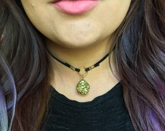 Gold Quartz Crystal Cluster Choker Necklace || Suede Leather || Handmade Jewelry