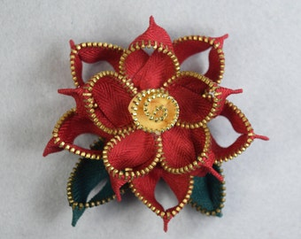Christmas Brooch Made to Order- Poinsettia Flower, Red Poinsettia Brooch, Christmas Pin, Poinsettia Pin, Upcycled, Recycled, Repurposed
